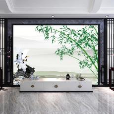 定制批发3D壁纸竹报平安 丝绢布风景墙布 中式客厅沙发背景墙