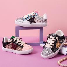 2019新款女童童鞋休闲男童板鞋彩色亮片格力特小脏鞋星星鞋58800