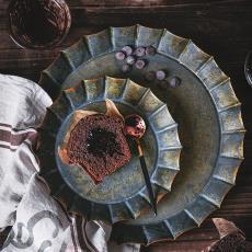 樱上花札做旧铁艺拍照盘圆形托盘果盘乡村风收纳道具面包贵金属1