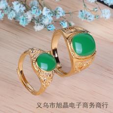 批發 熱銷爆款民族風越南沙金玉石寶石瑪瑙情侶開口戒指飾品男女