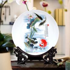 現代簡約陶瓷器粉彩青花瓷裝飾盤 現代時尚家飾工藝品 花盤子擺設
