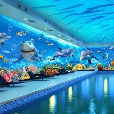 3d立体海底世界墙纸主题酒店ktv海洋背景母婴店游泳馆儿童壁纸