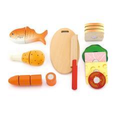 烹飪美食廚房娃娃家木制仿真水果面包魚道具 VIGA晚餐套裝V50260