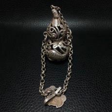 古玩仿古 藏银镂空鼻烟壶雕工家居挂件 银器银饰银吊坠镂空仿古银