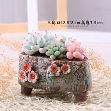 多肉植物花盆陶瓷精品手绘多肉花盆韩式个性手捏粗陶透气盆563-1