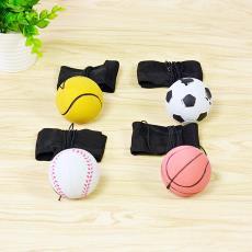 手抛玩具球 运动休闲减压球 带绳子 本色 手腕球 荧光弹力球