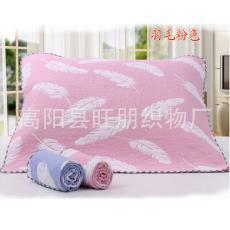 【爆款】高陽廠家直銷 紗布枕巾批發 純棉兩層夾絲素色羽毛枕巾