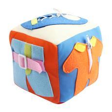 儿童毛绒积木玩具插扣穿鞋带按扣子宝宝生活日常学习锻炼益智玩具