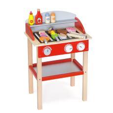 早教仿真餐具燒烤廚房木制烹飪機 VIGA紅色燒烤架含配件V50983