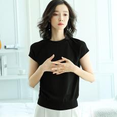一件代發 2019夏季新款針織衫韓版套頭女裝鏤空圓領純色短袖上衣