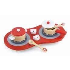 娃娃家木制桌面灶臺仿真原木廚房烹飪玩具 VIGA紅色煤氣灶V50230