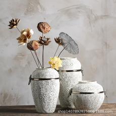 景德鎮陶瓷粗陶干插花復古做舊土陶罐花盆落地大花瓶客廳擺件裝飾
