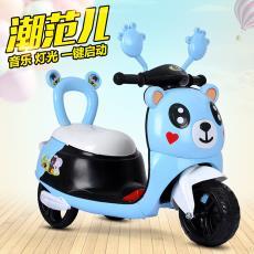 兒童卡通網紅熊電動摩托三輪車寶寶卡通電瓶童車男女孩幼童玩具車