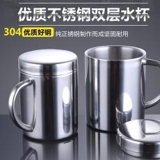 兒童防燙水杯隨手茶杯牛奶咖啡馬克杯 304不銹鋼口杯帶蓋雙層隔熱