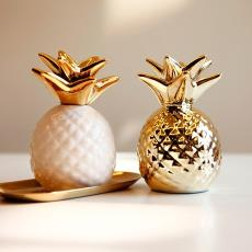 出口美國潮牌 家居裝飾擺件 電鍍金色白色陶瓷菠蘿鳳梨造型儲蓄罐