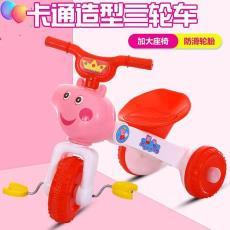 燈光兒童童車 新款小豬可腳蹬可坐可騎可折疊兒童三輪車