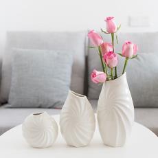 批发创意三件套白瓷花瓶简约现代插花花器摆件螺旋纹陶瓷花瓶摆设