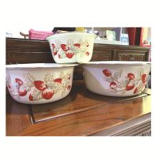 新款搪瓷盆老式懷舊琺瑯盆加深多用三件套攪拌盆洗菜盆加厚搪瓷碗