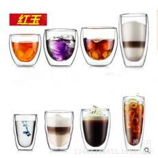 家用個性果汁杯子水杯 雙層蛋形咖啡杯 加厚耐熱茶杯 隔熱玻璃杯