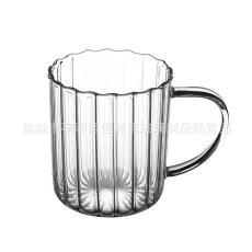 廠家手工吹制耐高溫玻璃條紋奶茶水杯玻璃條紋馬克杯玻璃咖啡杯子