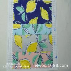布水果装饰布9882 防水复合布 凤梨黄梨服饰箱包 梨叶子印花布料