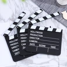 木質黑白導演板場記板 復古創意家居裝飾擺件 電影拍板拍攝道具