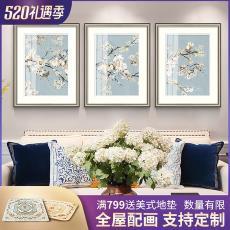 现代简约美式沙发背景墙装饰画餐厅卧室墙画壁画客厅挂画清新花鸟