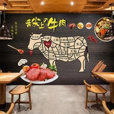 复古怀旧牛肉馆饭店背景墙纸装饰壁画潮汕牛肉火锅店餐厅装修壁纸