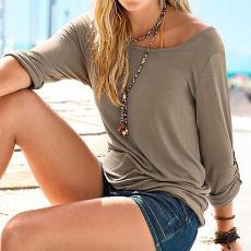 速卖通欧美外贸春秋新款女装圆领宽松时尚百塔上衣七分袖挽袖T恤