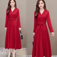 秋季跨境女装新款韩版职业OL连衣裙系带长袖显瘦遮肚子大摆长裙子