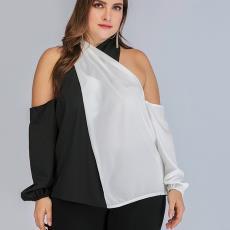 原创设计外贸新款大码女装黑白拼接交叉领露肩衬衣 实拍