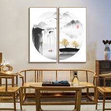 新中式装饰画挂画客厅背景墙玄关沙发背平面山水画中国风喷绘招财