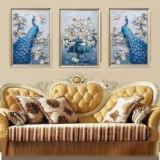 客厅画三联画抽象画北欧画花鸟画卧室画壁画组合画蓝孔雀装饰画