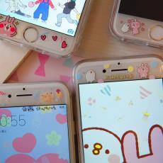 iphone6/7/8鋼化膜kanahei適用蘋果卡通彩膜plus玻璃膜防爆膜b7