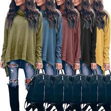 针织衫 跨境欧美速卖通热卖2019年秋冬季高领长袖不规则女上衣T恤