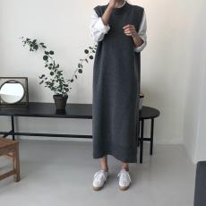 2019秋冬新款韩国INS风长款马甲针织衫连衣裙小众百搭毛衣裙