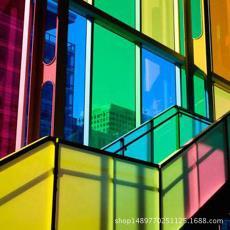 防曬隔熱透光貼膜窗戶透明裝飾膜紅綠青黃藍紫色玻璃貼紙彩色玻璃