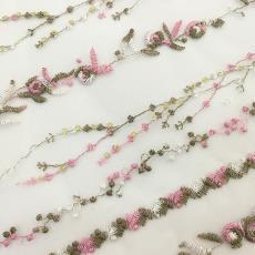 兒童亮片吊帶繡花面料 連衣裙禮服原料特價批發 粉色直條紋
