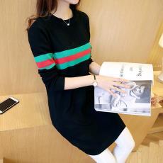 2019新款韩版圆领修身针织衫女装上衣中长款连衣裙