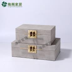 廠家直銷現代新中式軟裝飾品樣板房金屬扣PU皮仿麻布臥室首飾盒
