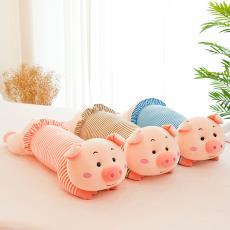 创意新款条纹趴猪毛绒玩具 女生节日礼物 可爱小猪猪儿童睡觉抱枕