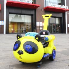 新款熊猫儿童电动车宝宝四轮遥控早教摇摆车有推把玩具车一件代发
