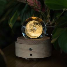 月球水晶球音乐盒木质旋转八音盒生日结婚新婚礼物送闺蜜女生礼品
