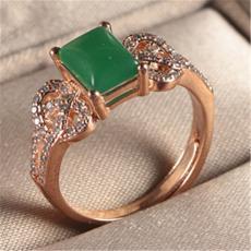 2018新款瑞麗玉石滿鉆女人戒指鍍玫瑰金馬來西玉愛心方形開口戒指
