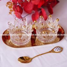 镀金玻璃皇冠小烛台创意水晶迷你烟灰缸首饰收纳盒香薰摆件
