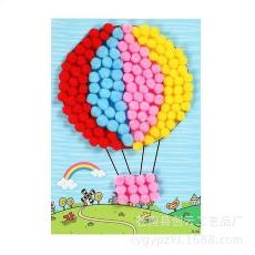 益智玩具 熱銷 幼兒園美勞制作 兒童毛絨球手工DIY貼畫