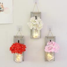 复古墙壁装饰 大门卧室创意仿真花装饰 带灯玻璃瓶绢花装饰