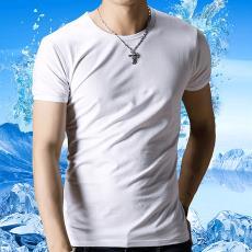 男式批发短袖t恤 广告衫印字班服男 定制文化衫厂服纯色空白短袖