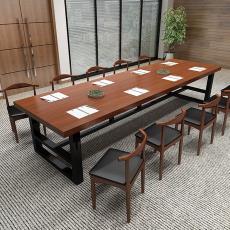 洽談辦公家具鐵藝實木大型會議桌 北歐辦公桌椅現代寫字樓電腦桌