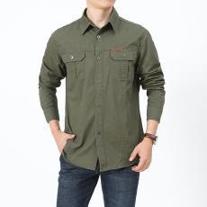 男長袖大碼男裝純色純棉休閑男式工裝襯衣B1388 吉普盾春秋襯衫